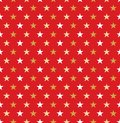 Seamless Christmas red and gold star wrapping paper pattern. Royalty Free Stock Photo