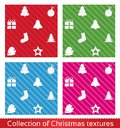 Seamless christmas texture pattern vector set collection elements Royalty Free Stock Photos