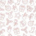 Seamless Christmas Thin Line Icons Background