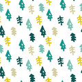 Seamless christmas tree pattern in flat style Royalty Free Stock Photo