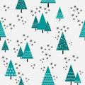 Seamless christmas tree pattern in flat style. Vector. Royalty Free Stock Photo
