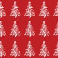 Seamless christmas tree pattern vector eps a design of white trees on a red background clip art Royalty Free Stock Photos