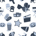 Seamless cinema stuff pattern Royalty Free Stock Photo