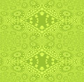 Seamless circles and diamond pattern lemon lime green shiny
