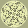 Seamless circular pattern of comic skulls and skeletons Royalty Free Stock Photography