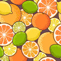 Seamless citrus decorative colorful slices vector background Stock Photos