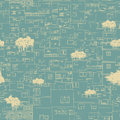 Seamless city pattern sketch blueprint like Royalty Free Stock Image