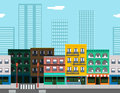Seamless City Street Concept Flat Design Town Royalty Free Stock Photo