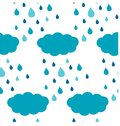 Seamless clouds and rain drops blue pattern