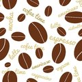 Seamless coffee beans background vector pattern on white Stock Images