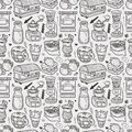 Seamless coffee pattern cartoon illustration Stock Photos