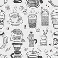 Seamless coffee pattern cartoon vector illustration Stock Photo