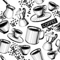 Seamless coffee pattern hand drawn Royalty Free Stock Photos