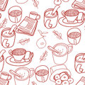 Seamless coffee tea and sweets pattern Royalty Free Stock Images