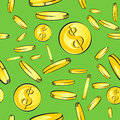 Seamless coins rain pattern, gold money with dollar sign fall, vector illustration