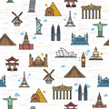 Seamless color pattern of the attractions of the world Royalty Free Stock Photo