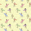 Seamless color pattern with girls with surf boards walking along the beach. Royalty Free Stock Photo