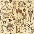Seamless color pattern: human hands in tattoos, alchemical symbols. Esoteric, mysticism, occultism. Royalty Free Stock Photo