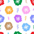 Seamless color snowflakes on the white texture with multi colored negligent Royalty Free Stock Image