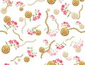 Seamless colored flowers for textile, Retro style floral. Royalty Free Stock Photo