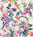 Seamless colored tropical flowers with belts and chains ready for textile print; Retro Hawaiian style floral. Royalty Free Stock Photo