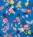 Seamless colored tropical flowers for textile; Retro Hawaiian style floral arrangement, vintage style with black background.Seamle Royalty Free Stock Photo