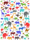 Seamless colorful african animals background Stock Image