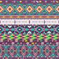 Seamless colorful aztec geometric pattern with arrows and birds Royalty Free Stock Image