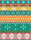 Seamless colorful aztec pattern with birds and arrow Royalty Free Stock Images