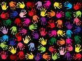 Seamless colorful background with hand stamps Stock Photos