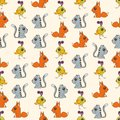 Seamless colorful background made of cartoons of cute baby anim animals vector Royalty Free Stock Image