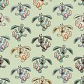 Seamless colorful background made of cartoons of funny falling bunnies vector Stock Images