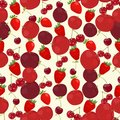 Seamless colorful background made of red apple, cherry and straw Royalty Free Stock Photo