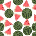 Seamless colorful background made of watermelon in flat design Royalty Free Stock Photo