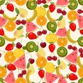 Seamless colorful background made of watermelon, kiwi, pear, ora Royalty Free Stock Photo