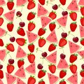 Seamless colorful background made of watermelon, strawberry and Royalty Free Stock Photo