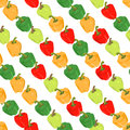 Seamless colorful background with peppers placed diagonally illustration Royalty Free Stock Photo