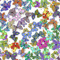 Seamless colorful butterfly pattern. Vector