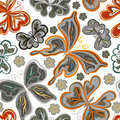 Seamless colorful butterfly pattern. Vector illustration