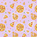Seamless colorful cartoon pizza texture Stock Images