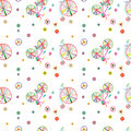 Seamless colorful cute doodle bicycles vector pattern Royalty Free Stock Photo