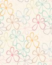 Seamless colorful flower pattern on the pastel background Stock Photo