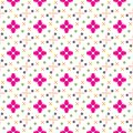 Seamless colorful geometric flower vector pattern Royalty Free Stock Photo