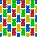 Seamless colorful gummy bears candies background. Sweets vector pattern. Royalty Free Stock Photo