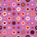 Seamless colorful hearts vector love theme pattern in circles like polka dots suitable for valentines day with purple background d