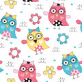 Seamless colorful owl pattern vector illustration Royalty Free Stock Photo