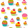 Seamless colorful painted cartoon cakes pattern. background for cafe. Vector illustration