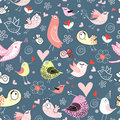 Seamless colorful pattern with lovers birds Stock Image