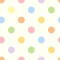 Seamless colorful polka dot pattern. Royalty Free Stock Photo