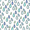 Seamless colorful rain drops pattern background on white